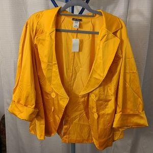 NWT 3X yellow satin jacket